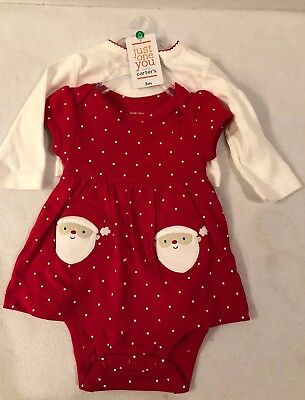 NWT Carters Baby Girl Cardigan Outfit 2 pc Christmas Santa Dress Infant Bodysuit