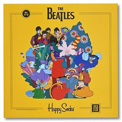 NEW HAPPY SOCKS LIMITED EDITION The Beatles 6pk Gift Set SIZE 10-13 -SALE