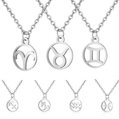 Women Necklace Zodiac Constellation Chain Silver Plated Charm Pendant Gifts Hot