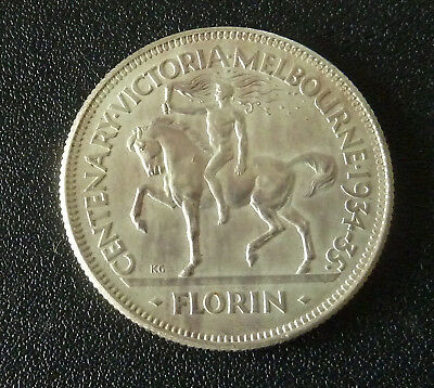 Australian 1934-35 Melbourne Centenary Silver Florin  - Great Condition