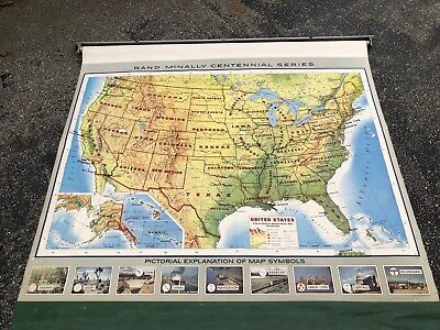 Rand McNally ROLL-DOWN SCHOOL WALL MAP United States Vintage