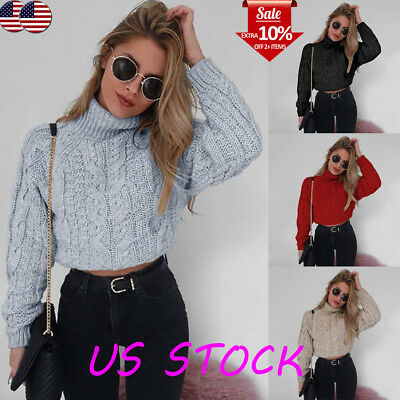 Womens High Neck Sweater Long Sleeve Crop Tops Winter Knitted Pullover Blouse US