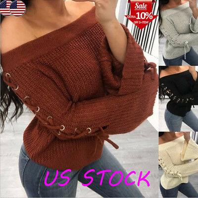 Women Flared Bell Sleeve Knitwear Sexy Off Shoulder Lace Up Knitted Sweater Tops
