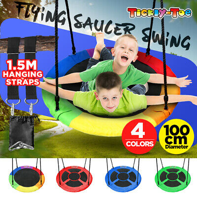 100cm 40'' Tree Swing Large Round Seat Kids Children Outdoor Yard Play Equipment