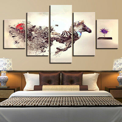 Abstract Running Zebra Painting 5 Panel Canvas Print Wall Art Home Decor Poster