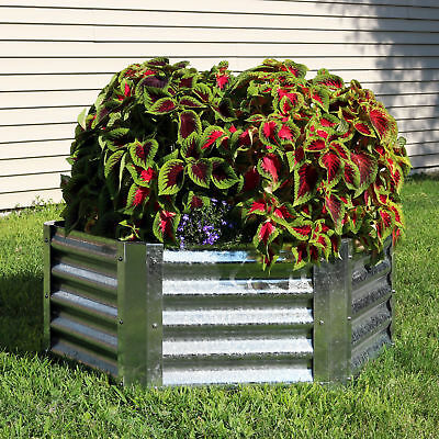 Sunnydaze Galvanized Steel 40-Inch Hexagon Raised Garden Bed - 16-Inch Deep