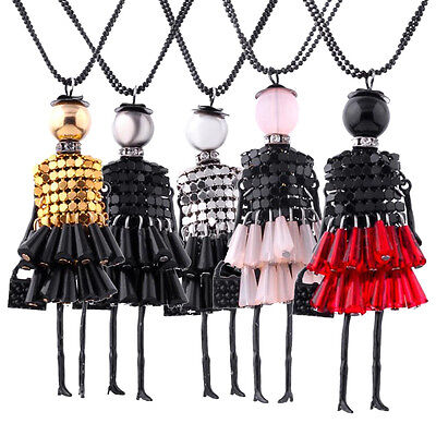 1Pc Women Necklace Crystal Rhinestone Doll Beads Pendant Long Sweater Chain Gift