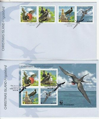 Christmas Island: 2010 Frigate Birds set + M/sheet on 2 FCDs. Scarce & Cheap