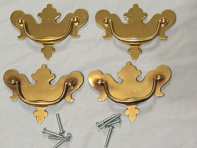 "4 Vintage Brass Chippendale Style Drawer Pulls 3"" Center To Center NOS"