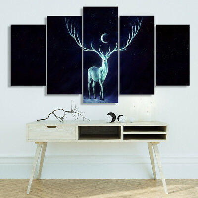 Fantasy Long Horned Deer Moon Phase Starry Night 5 Panel Canvas Print Wall Art