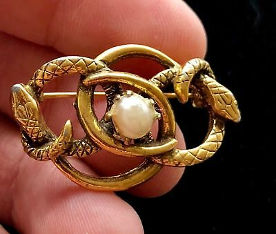 "Antique Vintage Pearl Snake Egyptian Revival Brooch Pin 1 1/2"" Costume Jewelry"