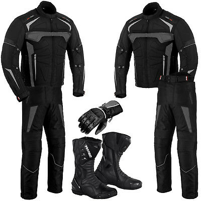 Profirst Motorcycle Racing Suit Waterproof Motorbike Jacket Pant Boot Gloves