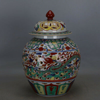 Fine Chinese Ming Dynasty Five Colours Porcelain Dragon Cap tank