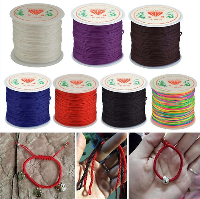 DIY 0.8mm Nylon Cord Thread Chinese Knot Macrame Rattail Bracelet Braided String