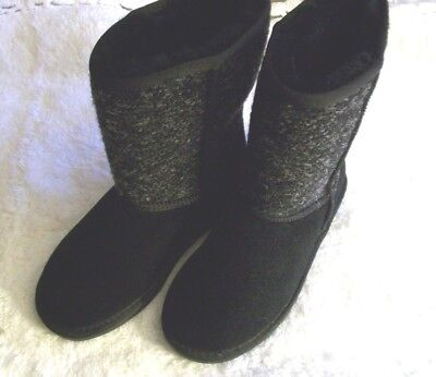 Minnetonka Womens Boots New Sz. 7M Black Shearling Lined Suede And Fabric