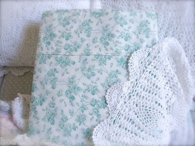 Shabby Cottage Roses Ocean Aqua Green Chic Single Bed Quilt Cover Doona Duvet Nw