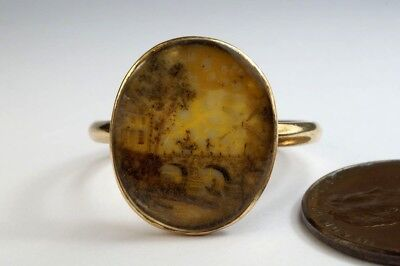 LOVELY ANTIQUE ENGLISH C18th GOLD HAIRWORK SCENE RING c1780