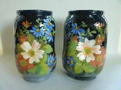 Pair Of Antique French Barbotine Impressionist Painted Vases, Jean Pointu