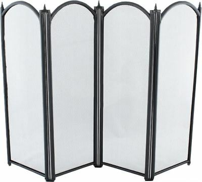 Black Four Fold traditional Fire Guard