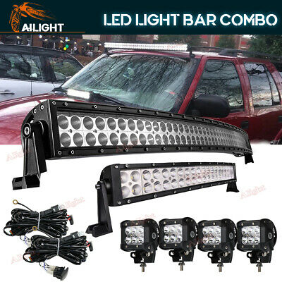 42inch LED Light Bar +22''+18W CREE LED Pods Work Lights 4WD ATV SUV Jeep Ford