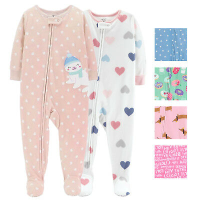 4477f3372 CARTERS GIRLS 2 Pack Footed Fleece One Piece Pajama-New Without Tags ...