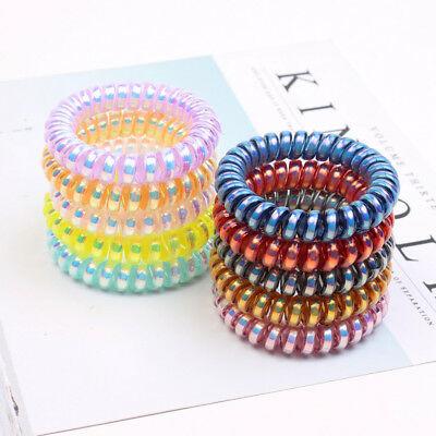 10 PCS Rubber Telephone Wire Hair Ties Spiral Slinky Hair Head Elastic Bands 48f735fc019
