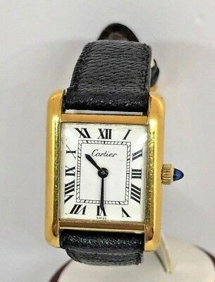6eab2589e68 Vintage CARTIER 18K Gold Electroplated Ladies Rectangular Watch White Dial
