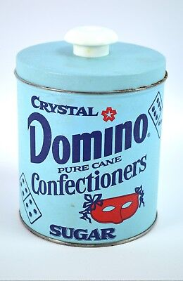 Vintage Crystal Domino Pure Cane Confectioners Sugar Tin Canister Collectible