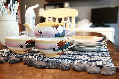 Antique China T & T Hand Painted JAPAN Tea Set Pot Cups Saucers 1920's Palm Rare