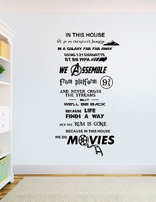 In this house We Do Movies wall art Star Wars Harry Potter Avengers