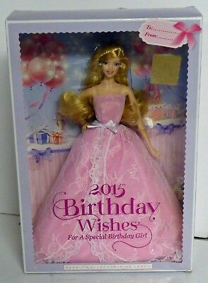 BARBIE 2015 BIRTHDAY Wishes Latina Doll With Stand Pink Label