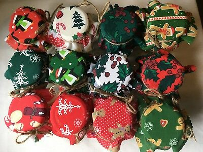 Lucky dip Christmas Fabric Jam Jar Covers x 12stringbands idealsweetiegift jar