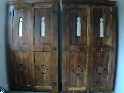 2 Solid antique dark brown teak wardrobes