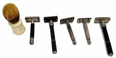 Lot Of 5 Vintage Razors And Brush Gillette Made In USA