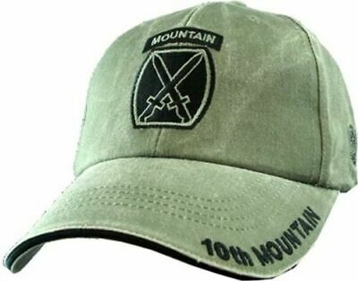 U.S.MILITARY ARMY 10th MOUNTAIN  DIVISION HAT BALL CAP OD GREEN STONE WASHED