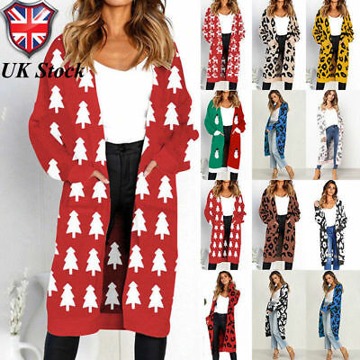 Xmas Womens christmas Leopard Cardigan Coat Tops Ladies Knitted Sweater Jumper*x