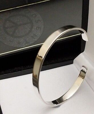 Mens Ladies Solid 925 Sterling Silver Cuff Bangle Bracelet 7 mm 62 x 50 UK Gift