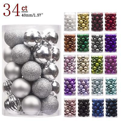 34ct Christmas Ball Ornaments Shatterproof Christmas Decorations Tree Balls