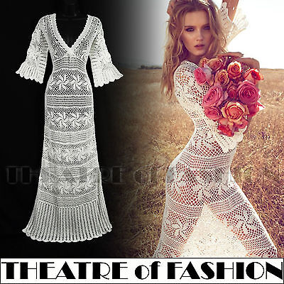 DRESS WEDDING CROCHET LACE 30s VINTAGE M L 10 12 14 16 70s BOHO STUNNING MONSOON