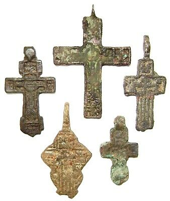 Ancient lot of 5 bronze pectoral Believer crosses Middle Ages.