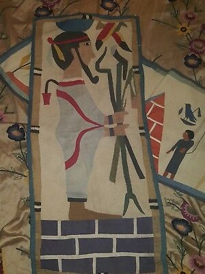 Ancient egyptian antique Wall Hanging C.1920s Appliqued Quilted Tapestry Coolest