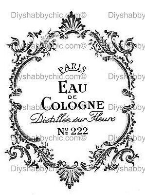 FURNITURE DECAL IMAGE Transfer Vintage Cologne Perfume Upcycle Shabby Chic  Diy