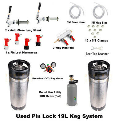 2 x Used 19L Pin Lock Keg Sys New Lid & CO2 Bottle Regulator Party Kit Home Brew