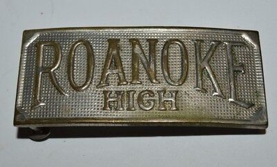 Nice Vintage Aged 1940s ROANOKE High School Virginia Brass Belt Buckle RARE