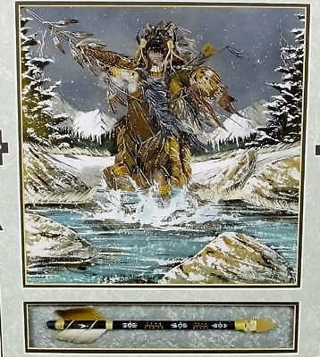 Original Gary Lee Bluehorse Winter Warrior Navajo Sand Painting Shadow Box