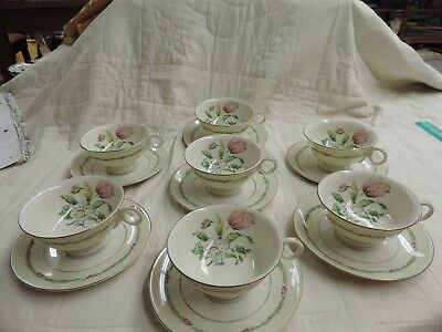 Vintage Theodore Haviland NY China Garden Flowers pattern - 7 Cups and Saucers