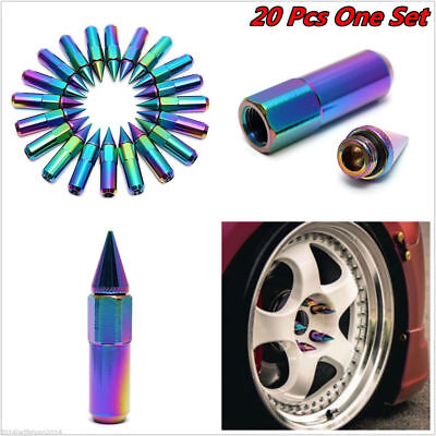 20 Pcs M12 X 1.5 60 mm Extended Aluminum Neo Chrome Spiked  Wheel Lug Nuts
