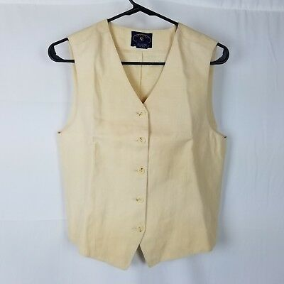 Men's Chelsea Cambell for Charter Club Vest Size M Tan 100% Linen 5 Button Front
