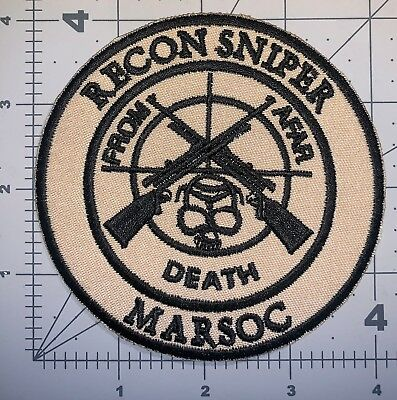 Usmc Khaki Recon Sniper Marsoc Patch Sew New (A152)