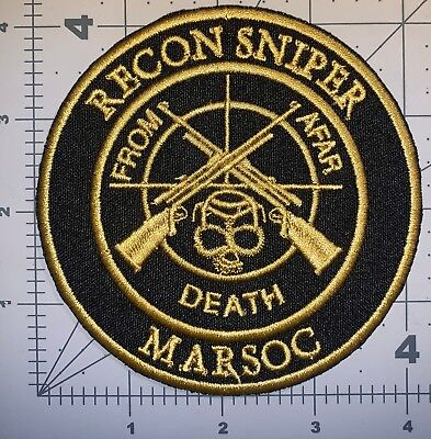 Usmc Black Recon Sniper Marsoc Patch Sew New (A152)
